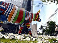 Cow sculpture in EU colours, Bucharest