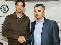 Midfielder Michael Ballack and Chelsea manager Jose Mourinho