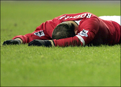 Wayne Rooney after missing a great chance