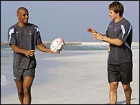 Tom Varndell (left) and Mathew Tait pictured during the Dubai Sevens