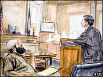 Sketch of courtroom
