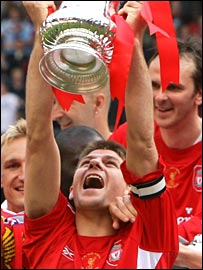 Steven Gerrard celebrates for Liverpool