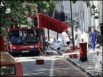 Bombed out bus in London's Tavistock Square, one of four targets in the 7th July 2005 bombings