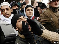 Islamist protesters demonstrate over the Muhammad cartoons outside the Danish embassy in London
