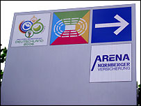 Signs in Nuremberg for the World Cup