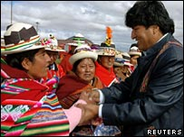 Bolivian President Evo Morales meets indigenous people