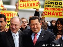 President Hugo Chavez (right) with London Mayor Ken Livingstone