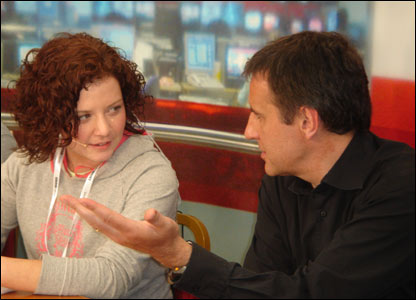 BELFAST -  Dermot Murnaghan left the comfort of the BBC Breakfast sofa to help visitors having a go at reading the news.