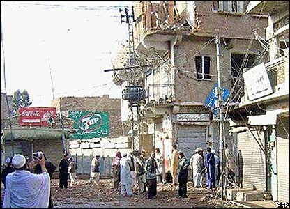 The main Miran Shah town has been damaged, especially the main market are