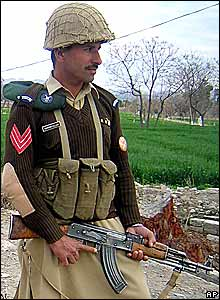 A Pakistani soldier on guard in Miran Shah