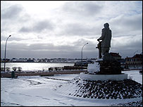 A statue of a sailor on St Pierre