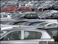 Astras lined up at Vauxhall's Ellesmere Port plant