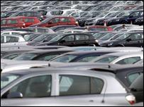 Astras lined up at Vauxhall's Ellesmere Port plant