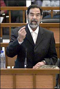 Former Iraqi President Saddam Hussein in court on 15 May 2006