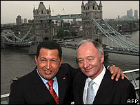 Venezuelan President Hugo Chavez and London Mayor Ken Livingstone
