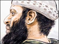 Courtroom sketch of Zacarias Moussaoui