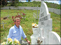 Peter Taylor at the grave of Jean Charles de Menezes
