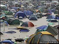 A flooded campsite at Glastonbury in 2005