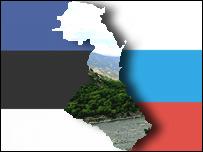 Карта Дагестана на фоне флагов Эстонии и России