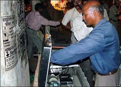 Police search for a bomb in Varanasi