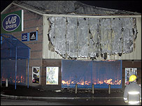 A JJB Sports store was destroyed in the blaze