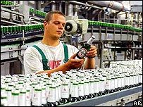 Worker in a Becks beer factory