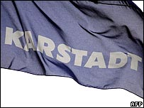 Karstadtquelle flag flying above one of its stores