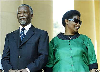 President Thabo Mbeki flanked on right by deputy president Phumzile Mlambo-Ngcuka