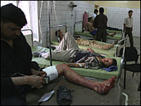 Bomb victims at a hospital in Baghdad, 2 August