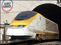 Eurostar train emerging from the Channel Tunnel