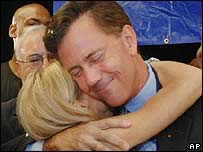 Ned Lamont celebrates winning the Democratic nomination in Connecticut on 8 August