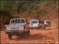 Unicef truck in Sierra Leone