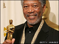 Morgan Freeman with his Oscar