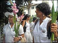 Members of the so-called Ladies in White opposition organisation in Havana on 6 August 2006