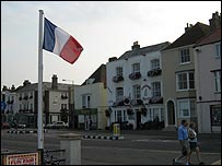 French flag near the pier in Deal