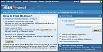 MSN Hotmail log-on page in 2006