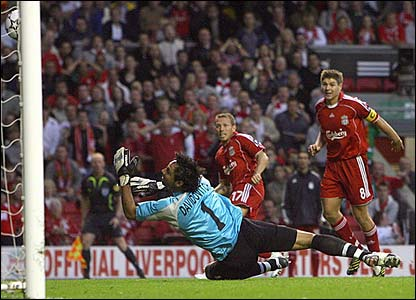 Craig Bellamy scores for Liverpool