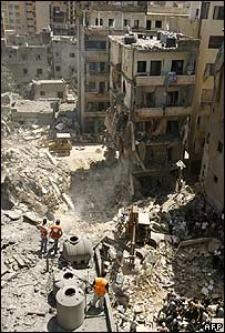 A view of apartment buildings in the Chyah area of Beirut hit in an Israeli strike on