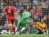 Gustavo Boccoli slides a shot past Liverpool keeper Jose Reina to give Maccabi Haifa the lead at Anfield