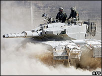 Israeli tank near the Lebanese border
