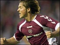 Saulius Mikoliunas celebrates Hearts' goal