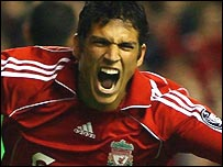 Liverpool winger Mark Gonzalez celebrates his late winner