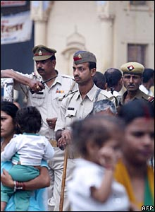 Officers outside Sankat Mochan temple 8 march 2006