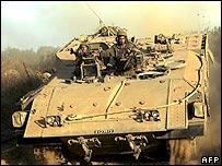 Israeli armoured personnel carrier near the Lebanese border on 9 August