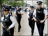 Police patrolling in London
