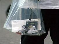 Passenger with plastic bag