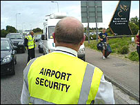 Security guard at Cardiff airport
