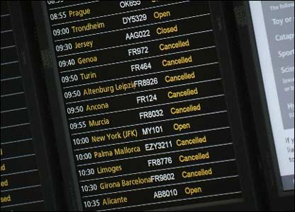 A departures board showing cancelled flights at Stansted
