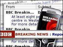 montage showing a range of breaking news services