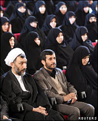 President Mahmoud Ahmadinejad (centre) at a women's conference